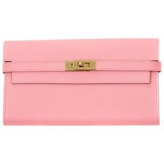 Hermes Kelly Longue Wallet Rose Confetti GHW
