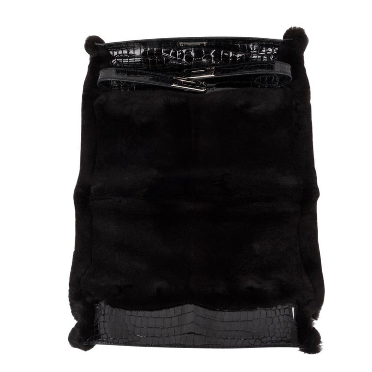 Hermes Kelly Manchon Black Mink and Porosus Crocodile Muff For Sale 7