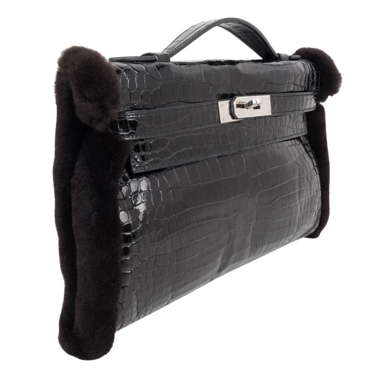 Women's Hermes Kelly Manchon Black Mink and Porosus Crocodile Muff For Sale