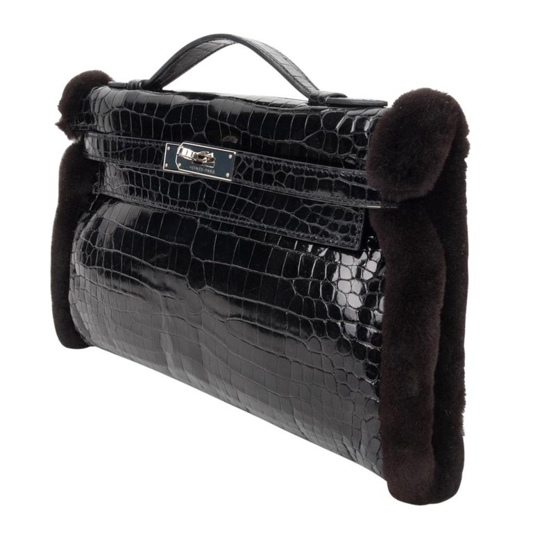 Hermes Kelly Manchon Black Mink and Porosus Crocodile Muff For Sale 2