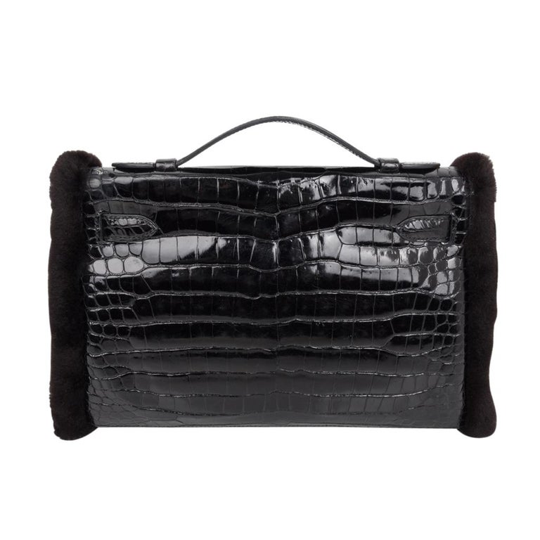 Hermes Kelly Manchon Black Mink and Porosus Crocodile Muff For Sale 3