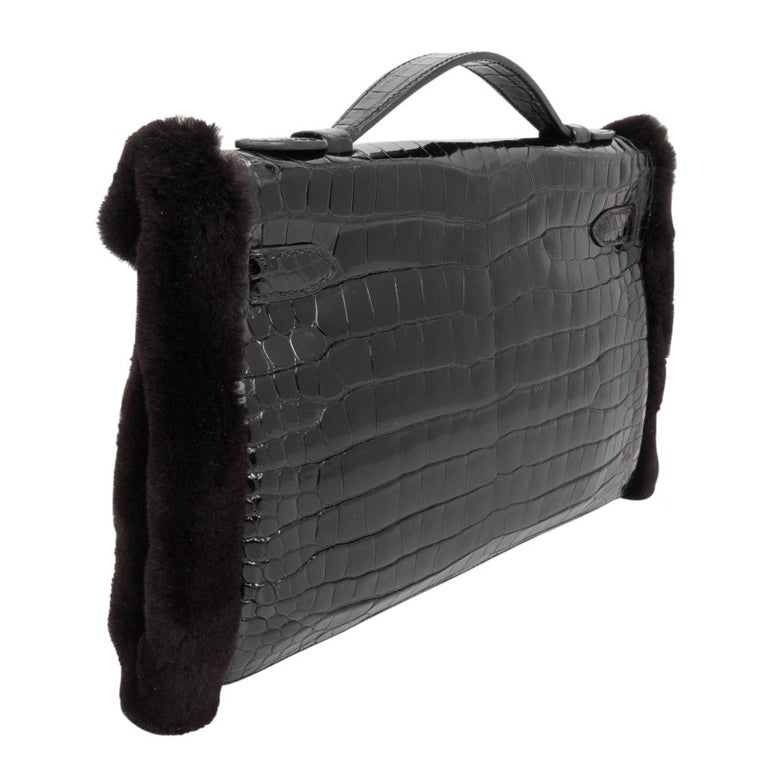 Hermes Kelly Manchon Black Mink and Porosus Crocodile Muff For Sale 4