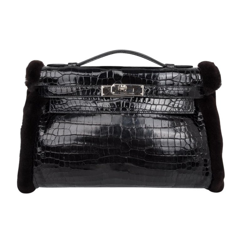 Hermes Kelly Manchon Black Mink and Porosus Crocodile Muff For Sale 5