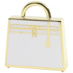 Hermes Kelly Metal Gold White Top Handle Satchel Tote Pendant Charm Curio