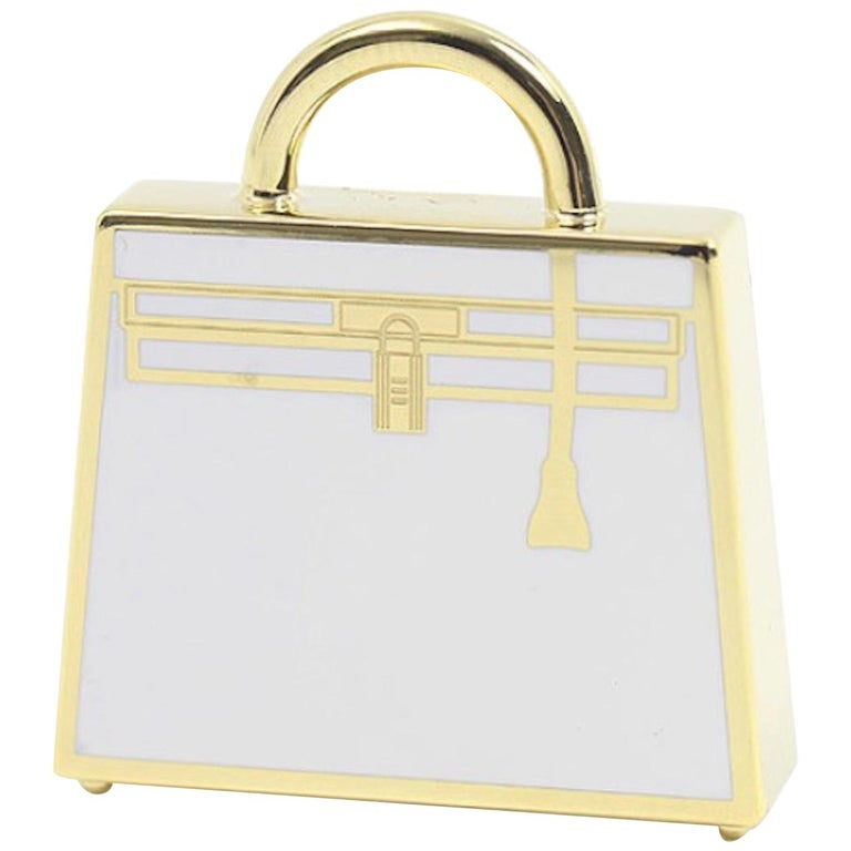 Hermes Kelly Metal Gold White Top Handle Satchel Tote Pendant Charm Curio For Sale