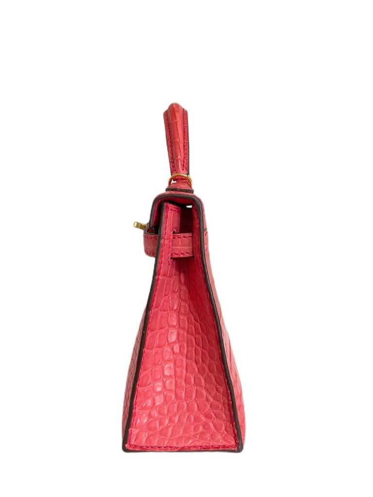 Hermes Kelly Mini 20 Alligator Bougainvillea Pink Gold Hardware New 2020 For Sale 2