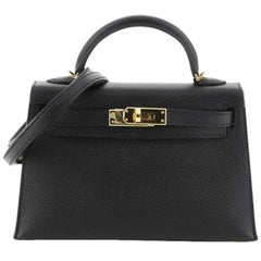 Hermes Kelly Mini II Handbag Noir Epsom With Gold Hardware 20