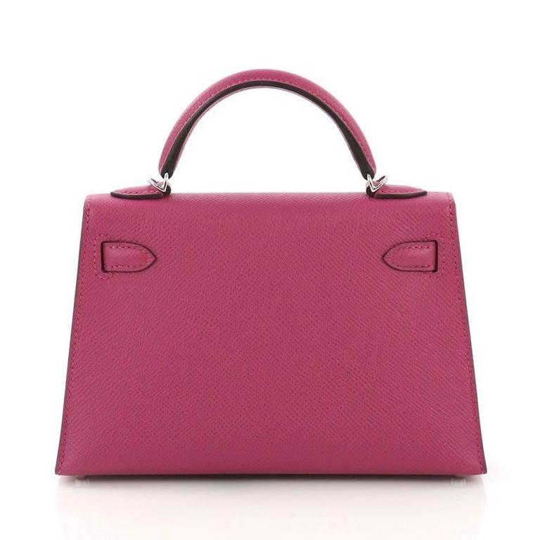 157993da9ea1 Hermes Kelly Mini II Handbag Rose Pourpre Epsom with Palladium Hardware 20  In Excellent Condition For