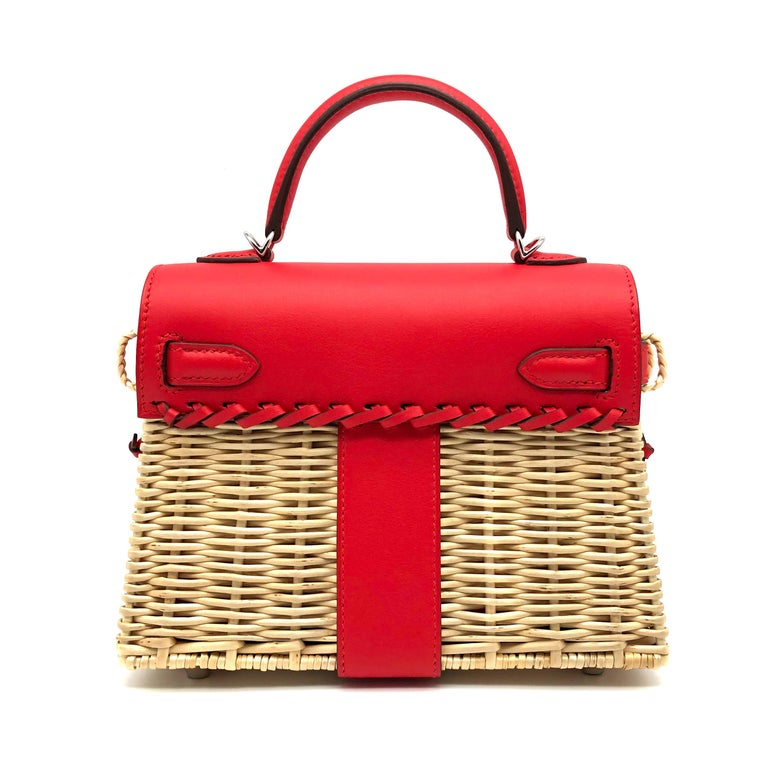 Brand: Hermès  Style: Kelly Size: Mini Picnic  Color: Roude de Coeur  Leather: Swift and Wicker  Hardware: Palladium Stamp: 2019 D  Condition: Pristine, never carried: The item has never been carried and is in pristine condition complete with all