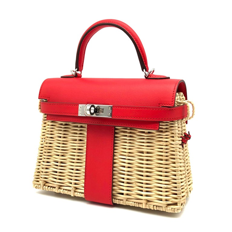 Red Hermès Kelly Mini Picnic Rouge De Coeur Swift Leather Palladium Hardware For Sale