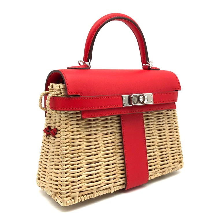 Hermès Kelly Mini Picnic Rouge De Coeur Swift Leather Palladium Hardware In New Condition For Sale In Jakarta, IN