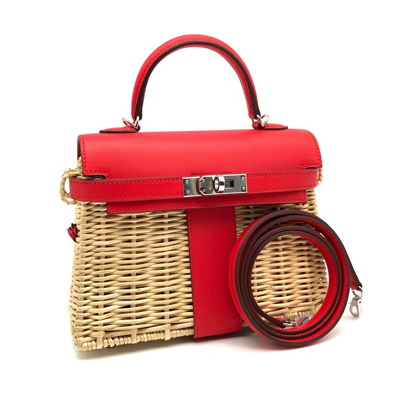 Women's or Men's Hermès Kelly Mini Picnic Rouge De Coeur Swift Leather Palladium Hardware For Sale