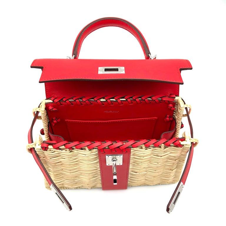 Hermès Kelly Mini Picnic Rouge De Coeur Swift Leather Palladium Hardware For Sale 1