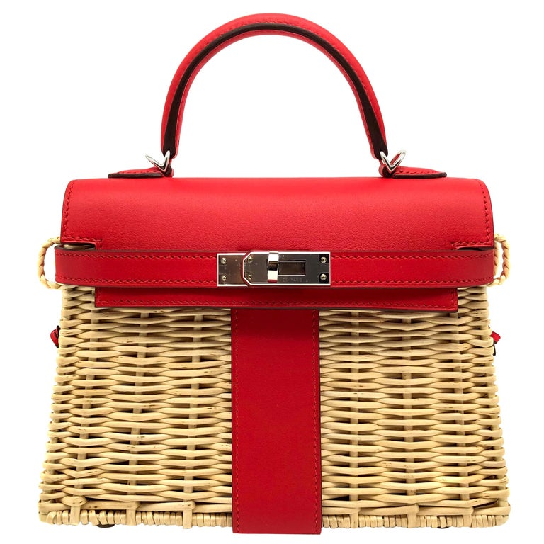 Hermès Kelly Mini Picnic Rouge De Coeur Swift Leather Palladium Hardware For Sale