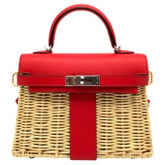 Hermès Kelly Mini Picnic Rouge De Coeur Swift Leather Palladium Hardware