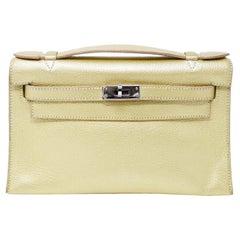 Hermes Kelly Mini Pochette Gold Chevre PHW 22cm