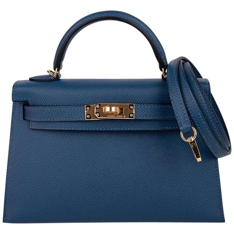 Hermes Kelly Mini Sellier 20 Bag Deep Blue Epsom Leather Gold Hardware