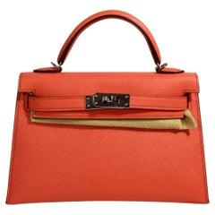 Hermès Kelly Mini Sellier Poppy Orange Chevre Gold Hardware Bag