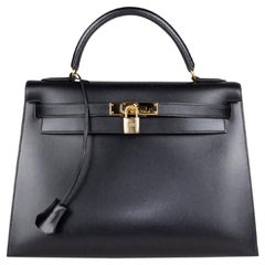 Hermès Kelly Noir Box Sellier 32 Bag