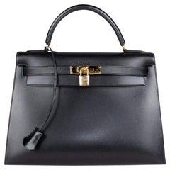 Hermès Kelly Noir Box Sellier 32 Bag