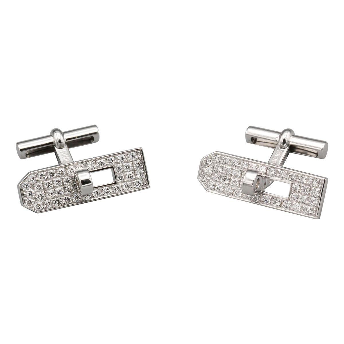Hermès Kelly Pave Diamond 18 Karat White Gold Cufflinks