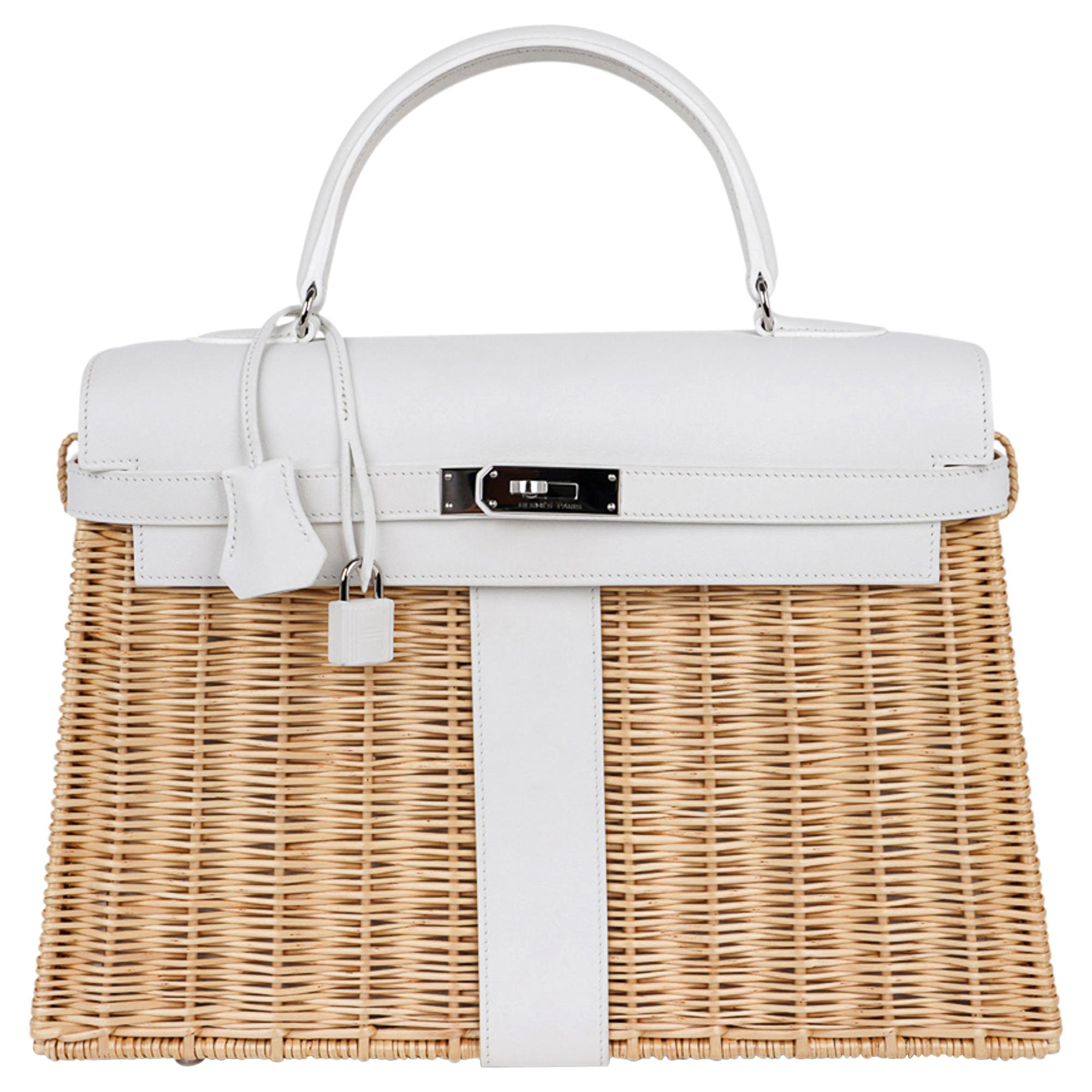 Hermes Kelly Picnic 35 Bag White Swift Leather / Osier (Wicker) Limited Edition
