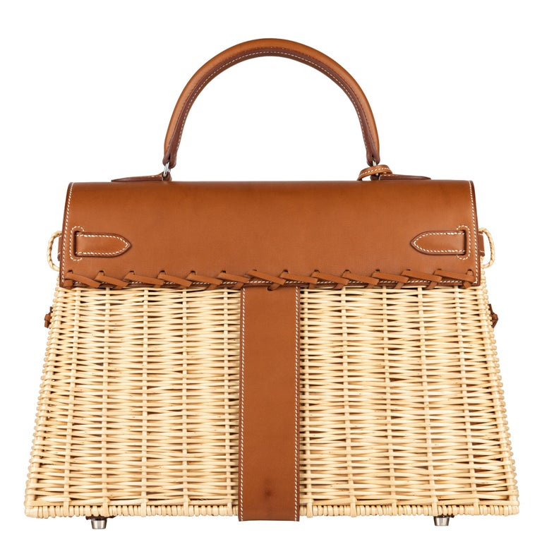 Hermès Kelly Picnic 35cm Fauve Barenia Leather Palladium Hardware In New Condition For Sale In Jakarta, IN