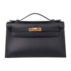 Hermes Kelly Pochette Bag Black Swift Clutch Gold Hardware