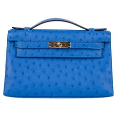 Hermes Kelly Pochette Bag Bleuet Ostrich Clutch Gold Hardware