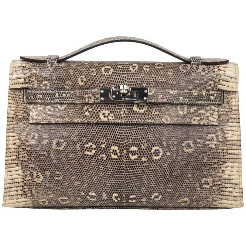 Hermes Kelly Pochette Bag Ombre Lizard Clutch Palladium Hardware Very Rare