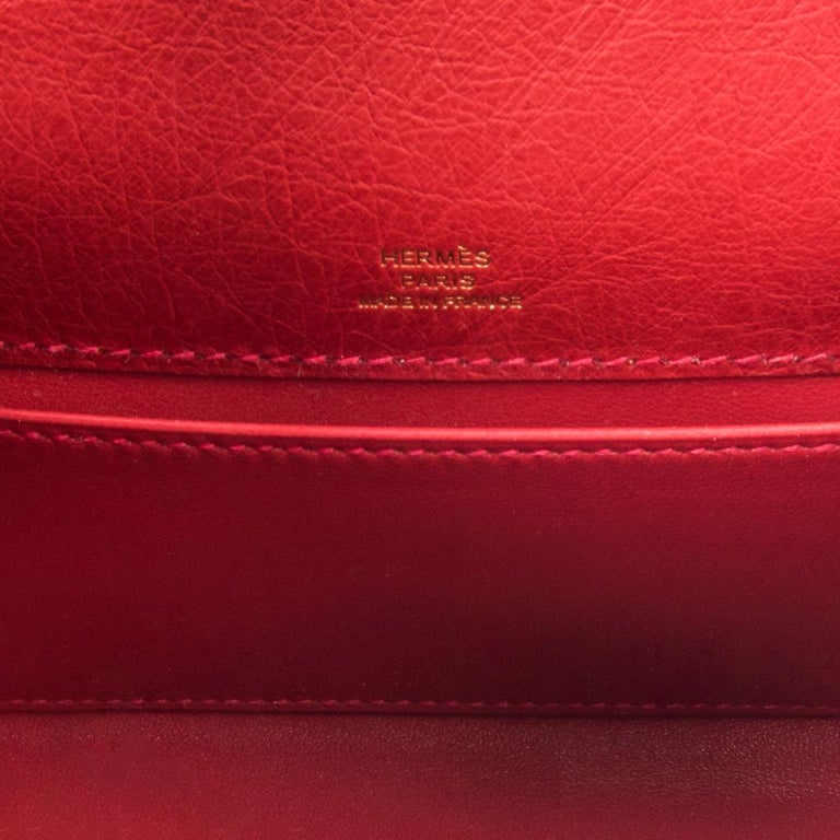 Hermes Kelly Pochette Bag Rouge Vif Red Ostrich Clutch Gold Hardware For Sale 5