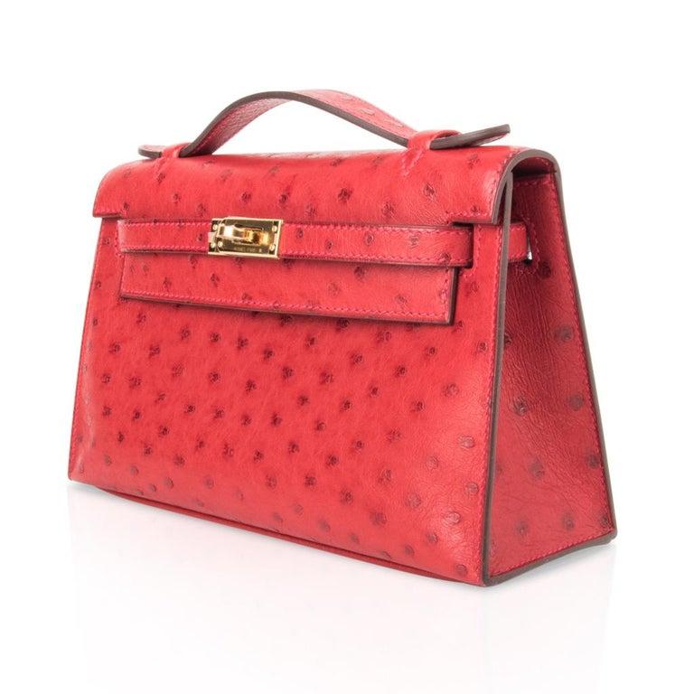 Hermes Kelly Pochette Bag Rouge Vif Red Ostrich Clutch Gold Hardware For Sale 1