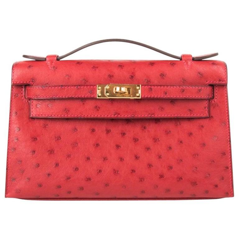 Hermes Kelly Pochette Bag Rouge Vif Red Ostrich Clutch Gold Hardware For Sale
