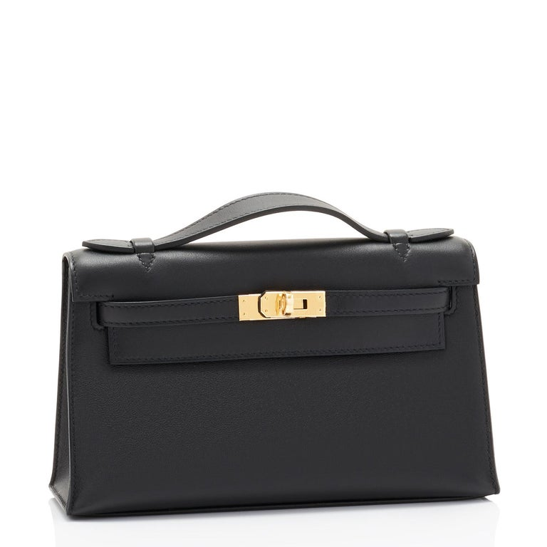 Hermes Kelly Pochette Black Gold Hardware Clutch Cut Bag Swift D Stamp, 2019 Just purchased from Hermes store.  Bag bears new interior 2019 D Stamp. Brand New in Box. Store fresh. Pristine condition (with plastic on hardware). Perfect gift! Comes