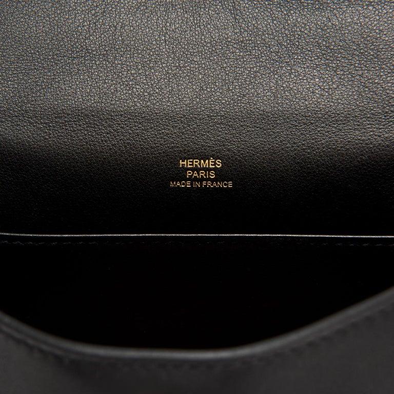 Hermes Kelly Pochette Black Gold Hardware Clutch Cut Bag Swift D Stamp, 2019 For Sale 2