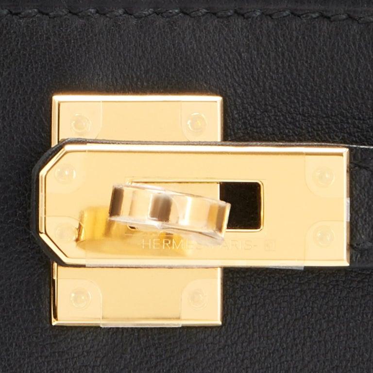 Hermes Kelly Pochette Black Gold Hardware Clutch Cut Bag Swift D Stamp, 2019 For Sale 4