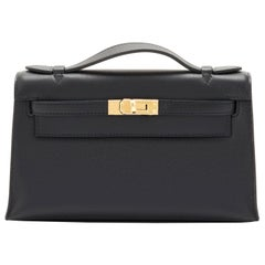 Hermes Kelly Pochette Black Gold Hardware Clutch Cut Bag Swift NEW