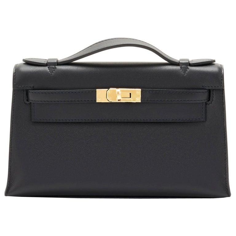 Hermes Kelly Pochette Black Gold Hardware Clutch Cut Bag Swift D Stamp, 2019 For Sale