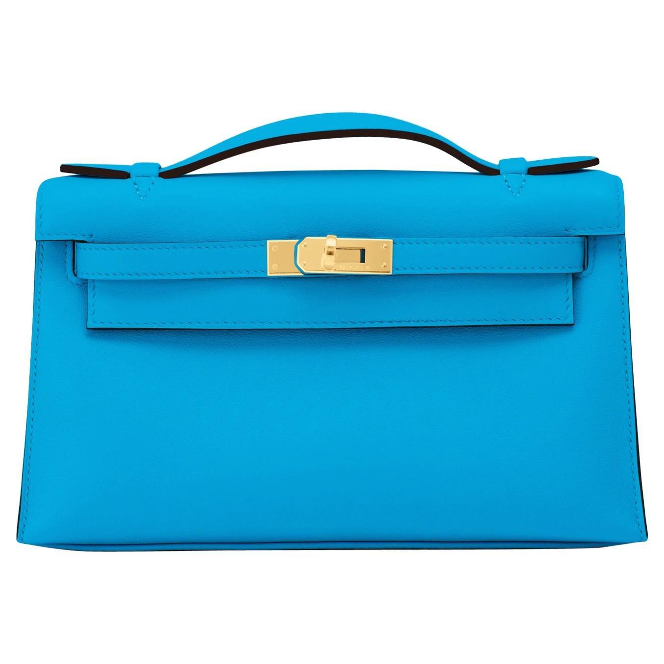Hermes Kelly Pochette Blue Frida Gold Hardware Clutch Cut Bag Y Stamp, 2020