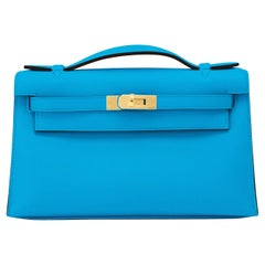 Hermes Kelly Pochette Blue Frida Gold Hardware Clutch Cut Bag Y Stamp, 2020