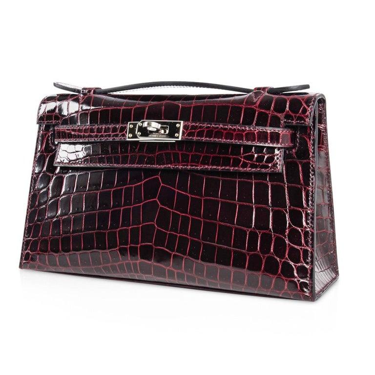 Hermes Kelly  Pochette Clutch Bag Rare Bordeaux Crocodile Palladium For Sale 1