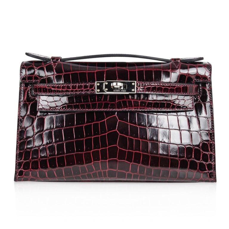Black Hermes Kelly  Pochette Clutch Bag Rare Bordeaux Crocodile Palladium For Sale