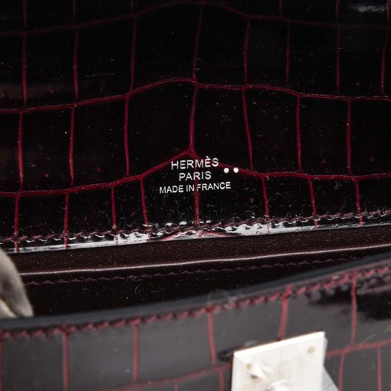 Hermes Kelly  Pochette Clutch Bag Rare Bordeaux Crocodile Palladium For Sale 2