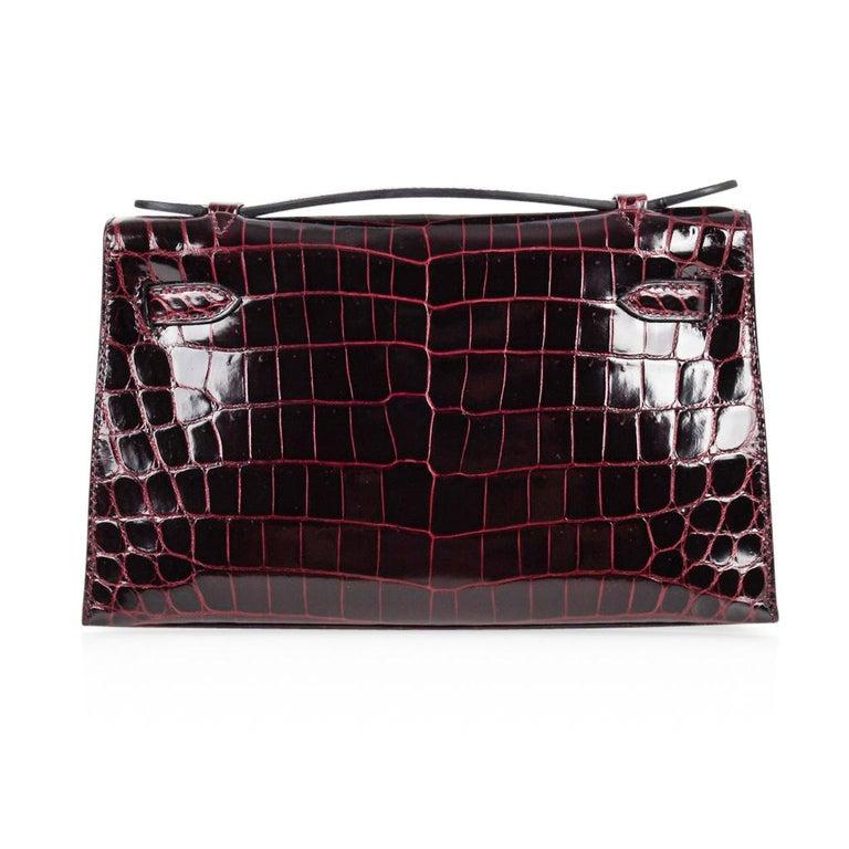 Hermes Kelly  Pochette Clutch Bag Rare Bordeaux Crocodile Palladium For Sale 4