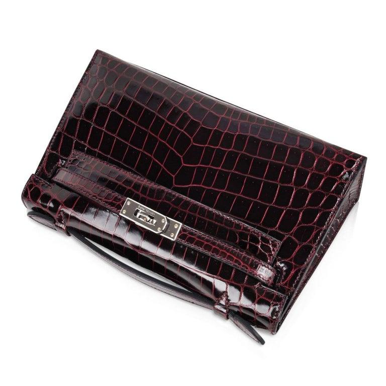Women's Hermes Kelly  Pochette Clutch Bag Rare Bordeaux Crocodile Palladium For Sale