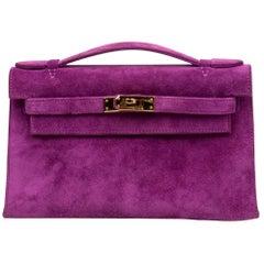 Hermes Kelly Pochette Doblis (Suede) Violet Purple Clutch Bag Gold