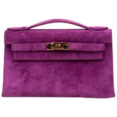 Hermes Kelly Pochette Doblis (Suede) Violet Purple Clutch Bag Gold
