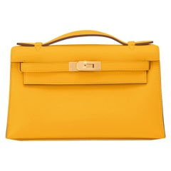 Hermes Kelly Pochette Jaune Ambre Gold Hardware Clutch Amber Bag Y Stamp, 2020