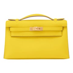 Hermes Kelly Pochette Lime Yellow Fluo Gold Clutch Cut Bag Y Stamp, 2020