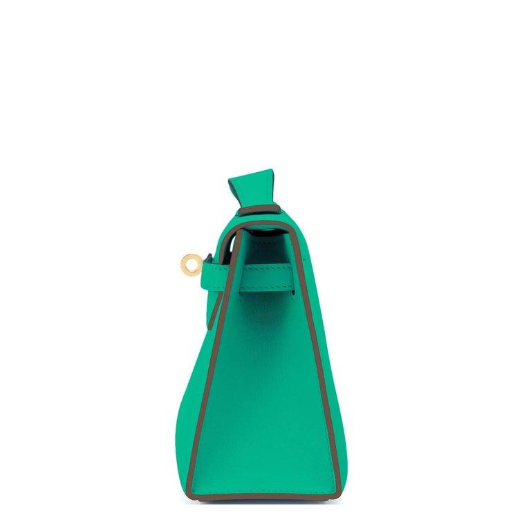 Blue Hermes Kelly Pochette Menthe Gold Hardware Clutch Cut Bag Z Stamp, 2021 For Sale